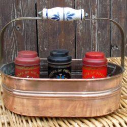 panier cuivre de chemin de table garni