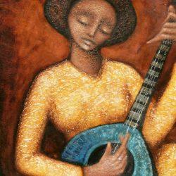 tableau joueuse de mandoline de près