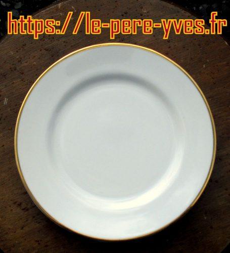 assiettes à dessert blanches et dorées porcelaine recto