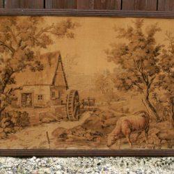 tapisserie ancienne vache à la rivière