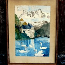 tableau bourdon lac des cygnes de loin
