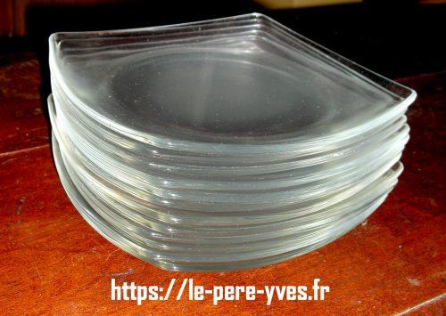 assiettes à dessert verre carré incurvé pile
