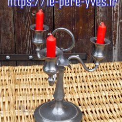 bougeoir étain 3 branches biais bougies