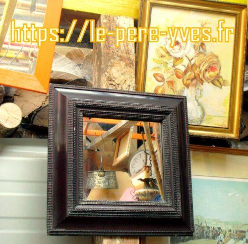 miroir carré bois foncé atelier