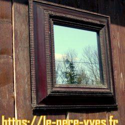 miroir carré bois foncé gauche