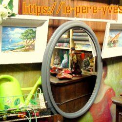 miroir ovale gris atelier