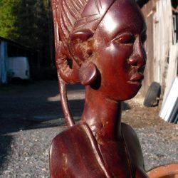 statuette buste africaine gm à tresses biais droite