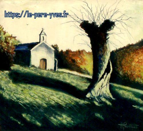 tableau georget chapelle derrière tronc de près