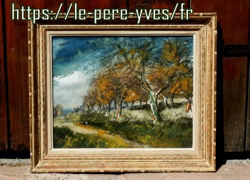 tableau paysage d'automne de loin