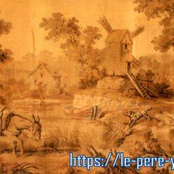 tableau tapisserie ancienne âne à la rivière de près