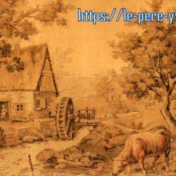 tableau tapisserie ancienne vache à la rivière de près